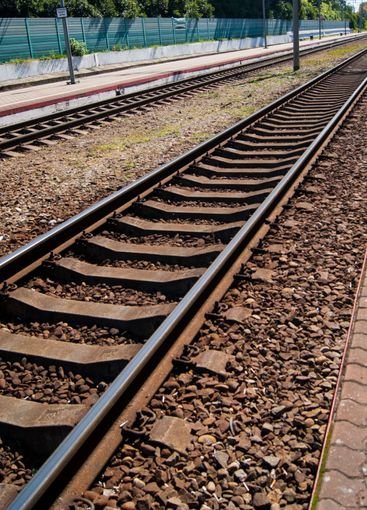 Railway. Close-up rails - vertical photo