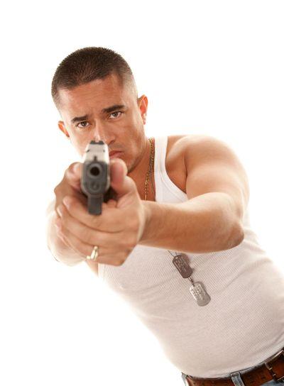 Hispanic Man with Gun