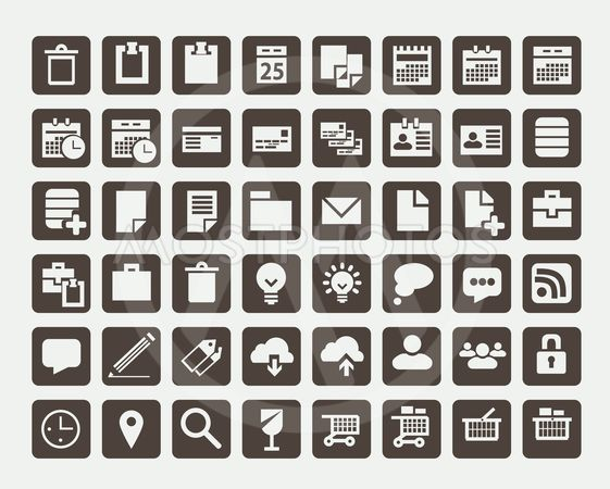 Collection of flat icons, vector illustration
