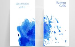 Watercolor cbusiness card template.