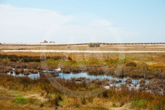 Boat in the marshes of Douro river, Portugal