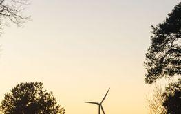 Väg i solnedgång med vindkraftverk