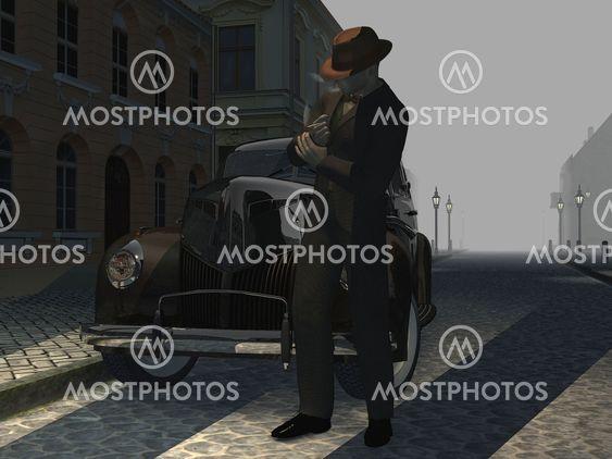 Smoking vintage man