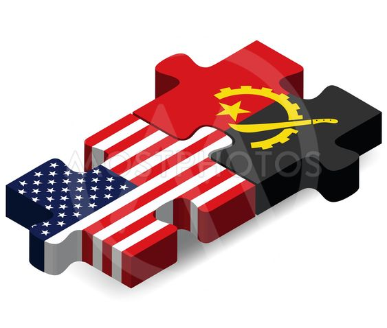 USA and Angola Flags in puzzle