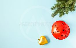 Top view Xmas accessories on light blue background