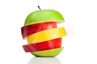 Combination of green, yellow and red apples