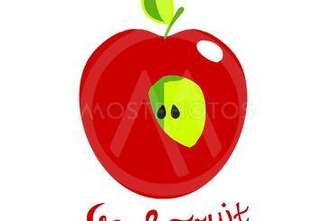 Ripe half-eaten Apple. Vector illustration with...