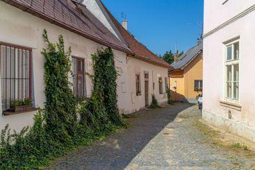 narrow street in Jindrichuv Hradec, Czech republic