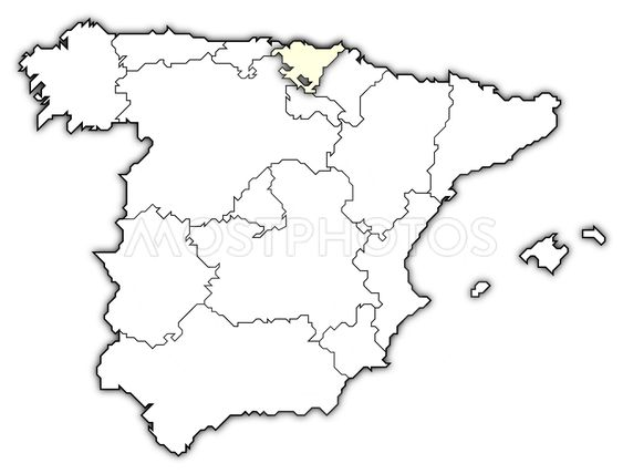 map of spain basque countr by steffen hammer mostphotos Outline Map of Spain with Cities map of spain basque country highlighted