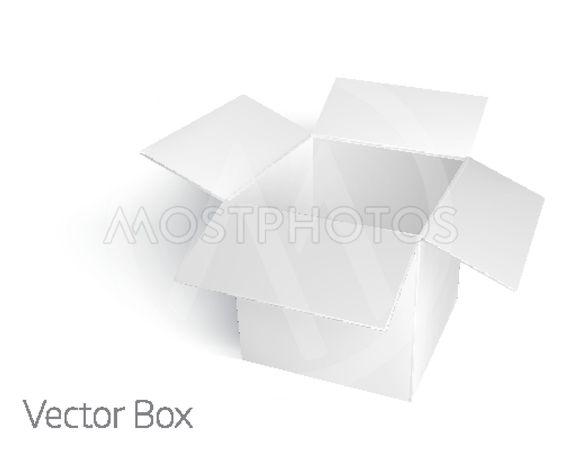 Open white empty box mockup template