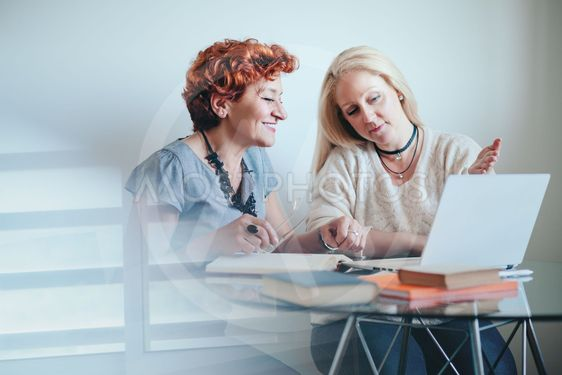 Two businesswoman exchanging ideas