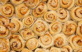 Cinnamon buns as background
