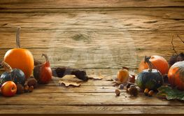 Autumn fruit on table
