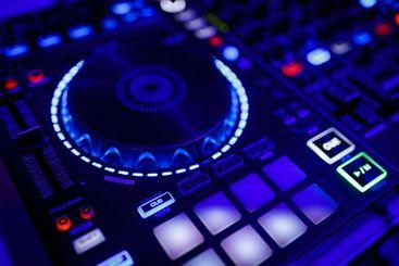 closeup view of a DJ's mixing desk