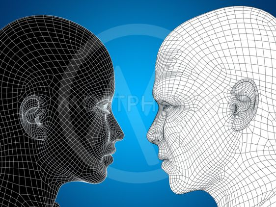 Concept or conceptual 3D wireframe or mesh human male and...
