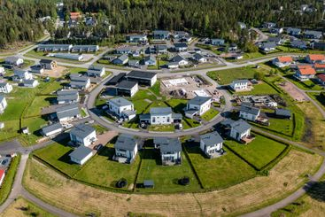 Aerial view of modern nordic family homes. New...