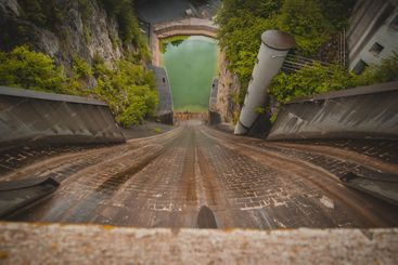 Scary view from small but steep dam for hydroelectric...
