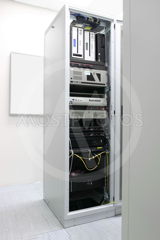 Rack with network ...
