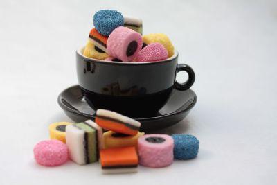 liquorice allsorts in black espressocup