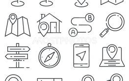 Vector Gray Navigation and Map line icons