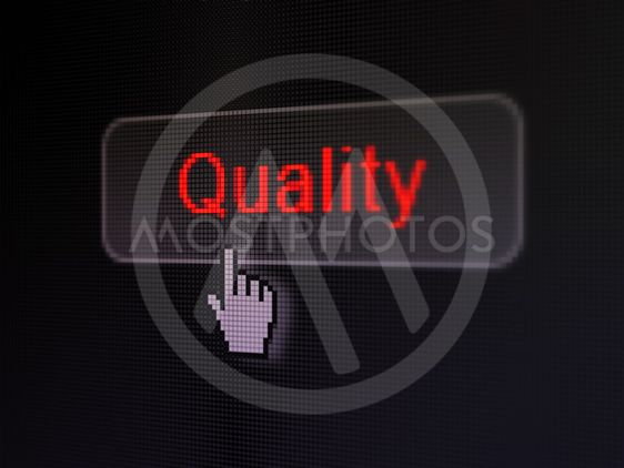 Marketing concept: Quality on digital button background