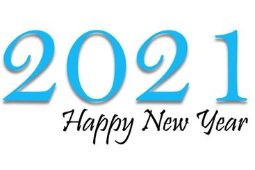 Happy New Year 2021 text design in blue and black colors