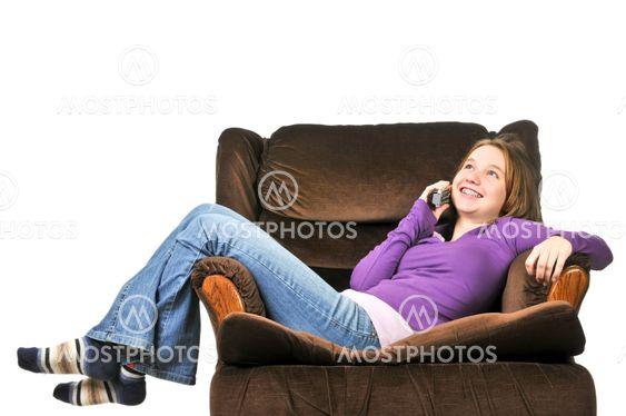 Teenage girl telefonsamtaler