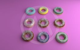 Various donut on pink bckground, 3d rendering .