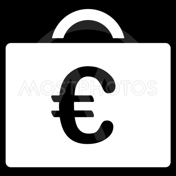 Euro Bookkeeping Case Flat Vector Icon
