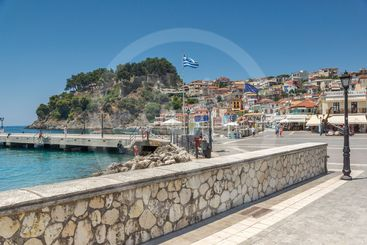 Coastal street of town of Parga, Epirus, Greece