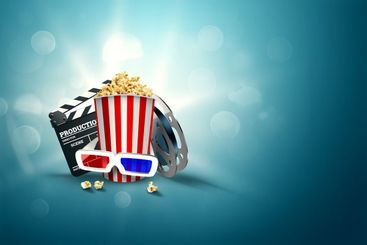 Online movies, cinemas, an image of popcorn, 3d glasses,...