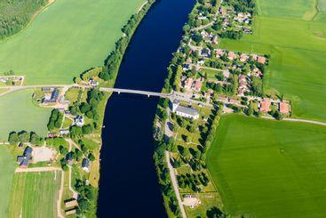 Aerial view of small village of Smedby, Dalarna