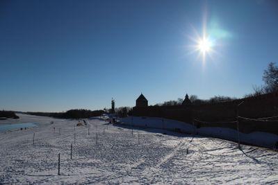 Grand   Novgorod, Volkhov river, sky, winter, sunny day,...