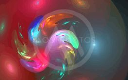 one Illustration of digital fractal with multicolor