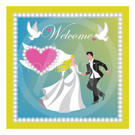 Inbjudan eller poster till bröllop med dansande par.