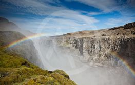 Dettifoss Waterfall in Iceland under a blue summer sky...