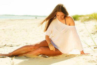 Attractive sexy girl on seashore
