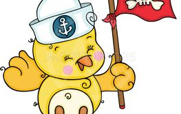 Cute sailor yellow bird holding a pirate flag