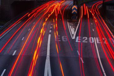 Car light trails on a highway. Gothenburg, Sweden
