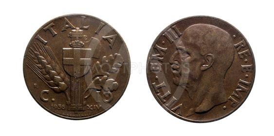 ten 10 cents Lire Copper Coin 1936 Empire Vittorio...