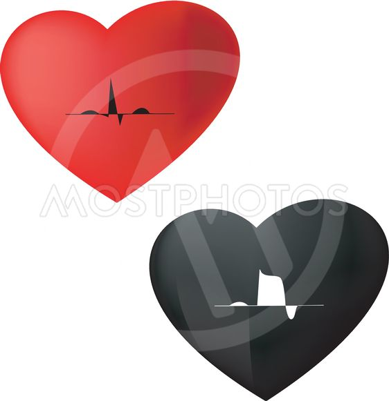 ECG Icon normal & cardiac infarction