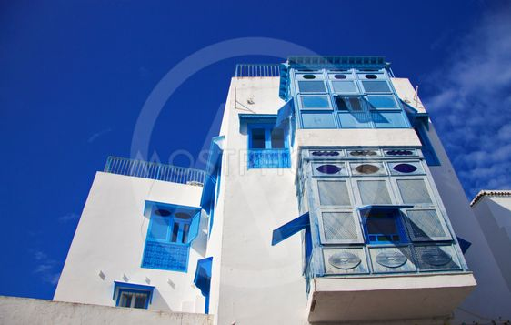 White and blue town Sidi Bou Said, Tunisia, North Africa
