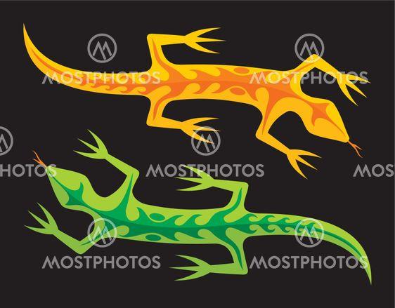 Green and orange lizards