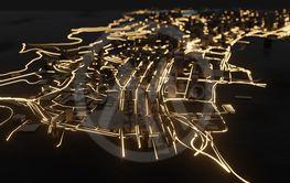 Modern city traffic road at night
