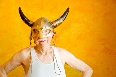 Crazy Old Man in a Viking Helmet