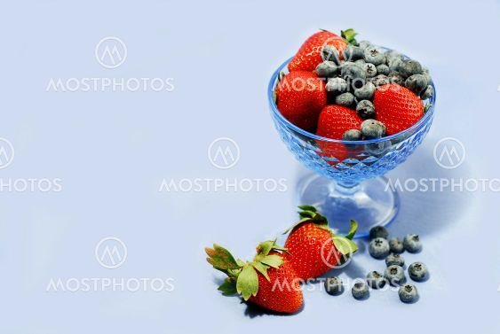 Berries on blue