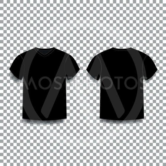 Black men's t-shirt template v-neck front and back side...