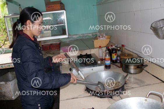 Female chef process fried cicadas