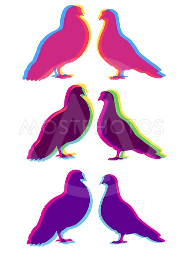 Two pigeons love silhouettes set, with multicolor stereo...