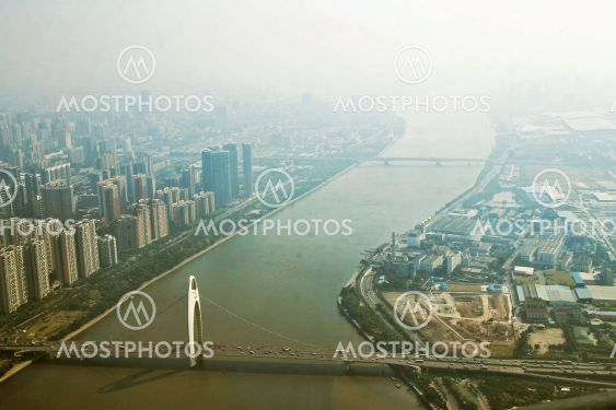 Guangzhou town and Pearl river view from windows of...